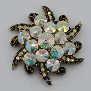 Vintage Iridescent Rhinestone Winter Brooch